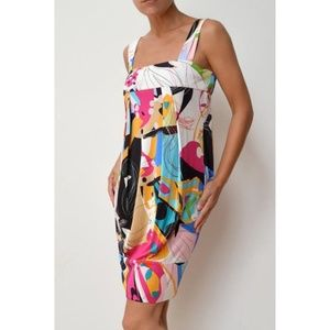 DVF Eliot Colorful Silk Blend Banded Bottom Dress